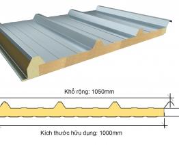 Tấm lợp 3 lớp PU cách nhiệt cán 6 sóng tôn 0.5mm trên dưới